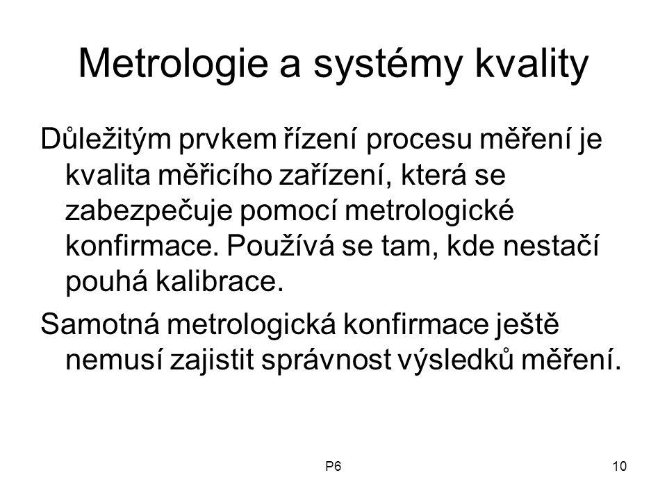 P610 Metrologie a systémy kvality Důležitým prvkem řízení procesu měření je kvalita měřicího zařízení, která se zabezpečuje pomocí metrologické konfir