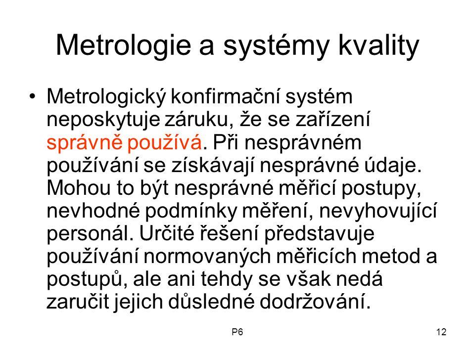 P612 Metrologie a systémy kvality Metrologický konfirmační systém neposkytuje záruku, že se zařízení správně používá. Při nesprávném používání se získ
