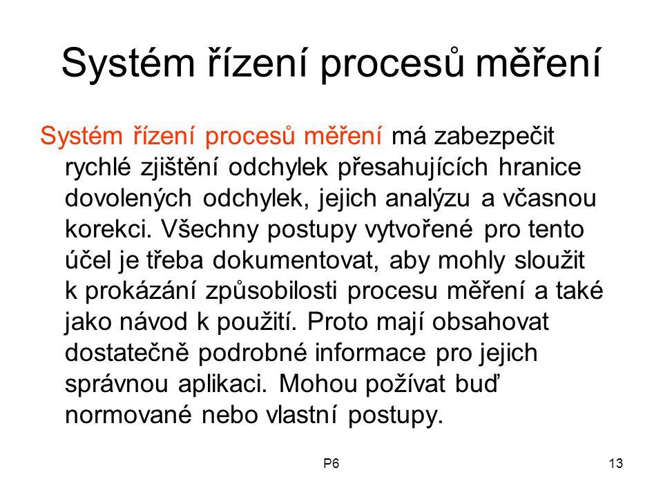 P613 Systém řízení procesů měření Systém řízení procesů měření má zabezpečit rychlé zjištění odchylek přesahujících hranice dovolených odchylek, jejic