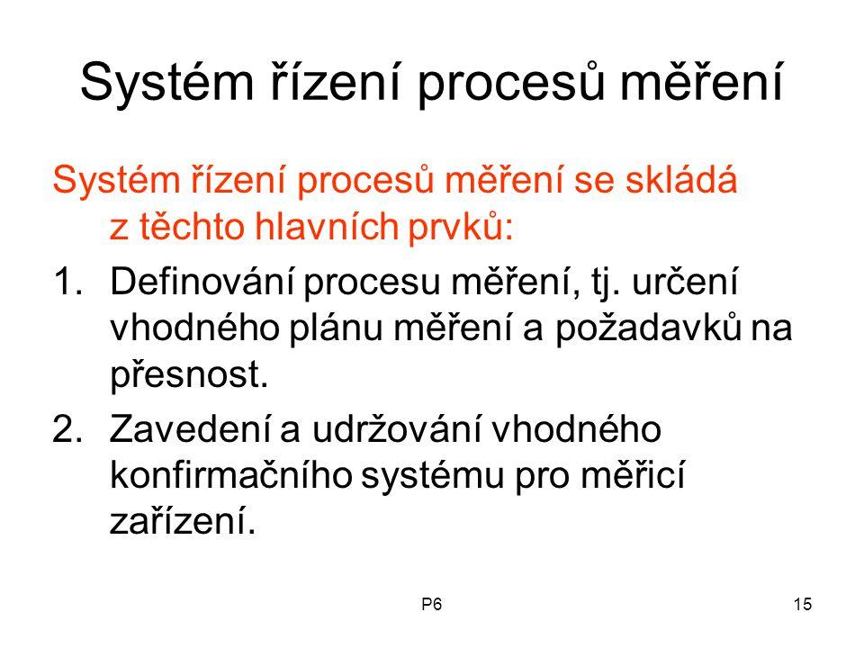 P615 Systém řízení procesů měření Systém řízení procesů měření se skládá z těchto hlavních prvků: 1.Definování procesu měření, tj. určení vhodného plá