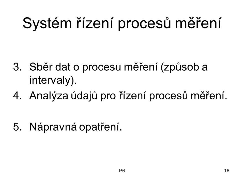 P616 Systém řízení procesů měření 3.Sběr dat o procesu měření (způsob a intervaly). 4.Analýza údajů pro řízení procesů měření. 5.Nápravná opatření.