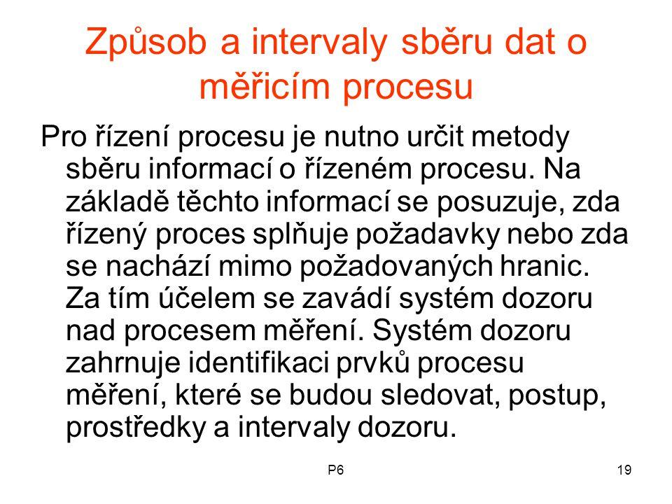 P619 Způsob a intervaly sběru dat o měřicím procesu Pro řízení procesu je nutno určit metody sběru informací o řízeném procesu. Na základě těchto info