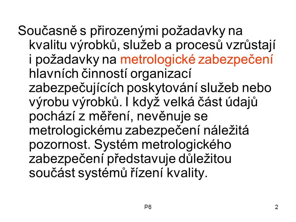 P62 Současně s přirozenými požadavky na kvalitu výrobků, služeb a procesů vzrůstají i požadavky na metrologické zabezpečení hlavních činností organiza