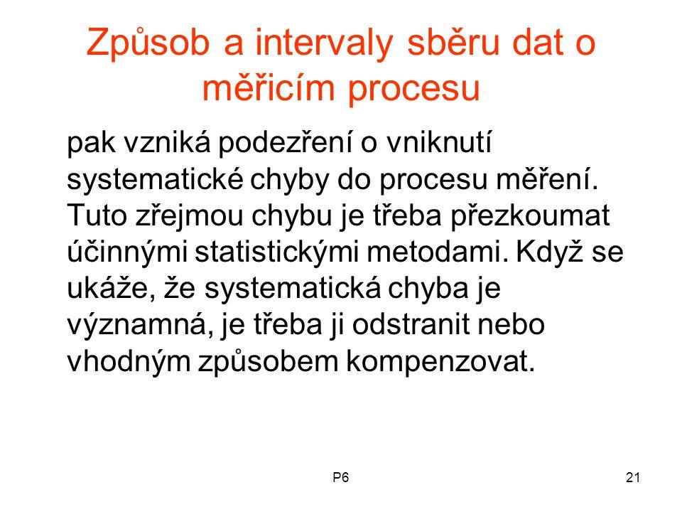 P621 Způsob a intervaly sběru dat o měřicím procesu pak vzniká podezření o vniknutí systematické chyby do procesu měření. Tuto zřejmou chybu je třeba