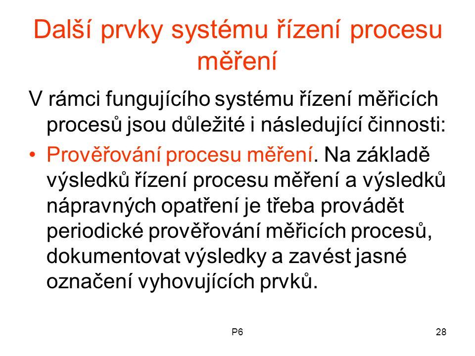 P628 Další prvky systému řízení procesu měření V rámci fungujícího systému řízení měřicích procesů jsou důležité i následující činnosti: Prověřování p