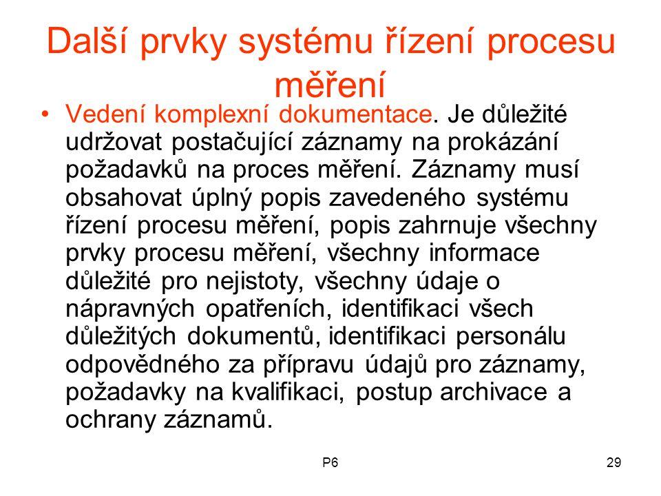 P629 Další prvky systému řízení procesu měření Vedení komplexní dokumentace. Je důležité udržovat postačující záznamy na prokázání požadavků na proces