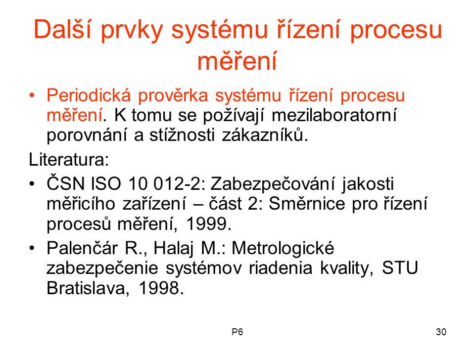 P630 Další prvky systému řízení procesu měření Periodická prověrka systému řízení procesu měření. K tomu se požívají mezilaboratorní porovnání a stížn