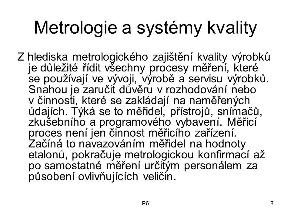 P68 Metrologie a systémy kvality Z hlediska metrologického zajištění kvality výrobků je důležité řídit všechny procesy měření, které se používají ve v