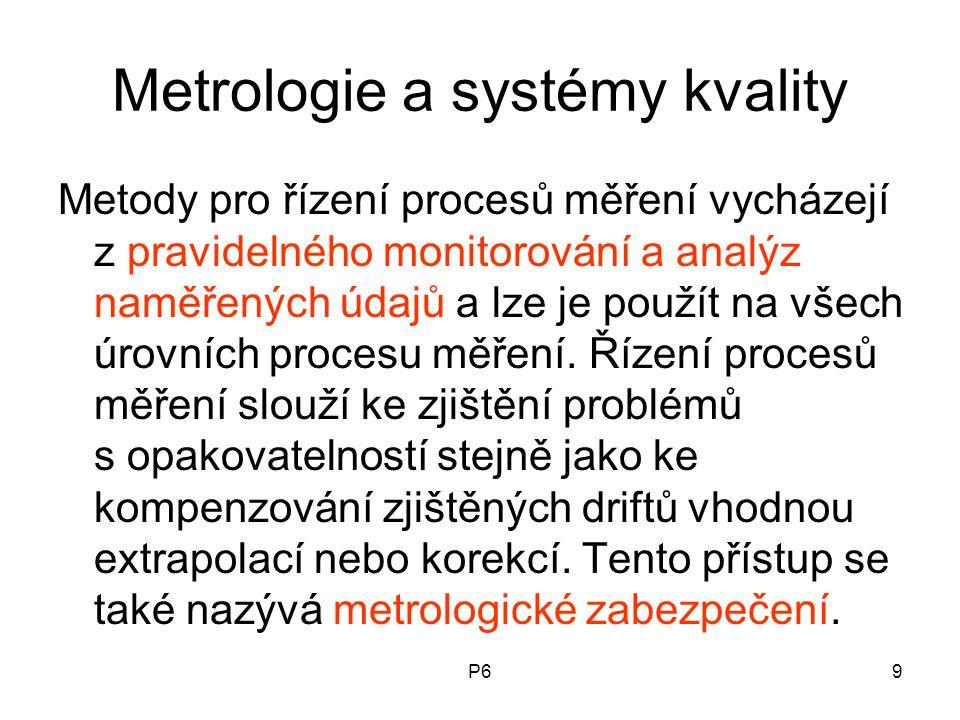 P69 Metrologie a systémy kvality Metody pro řízení procesů měření vycházejí z pravidelného monitorování a analýz naměřených údajů a lze je použít na v