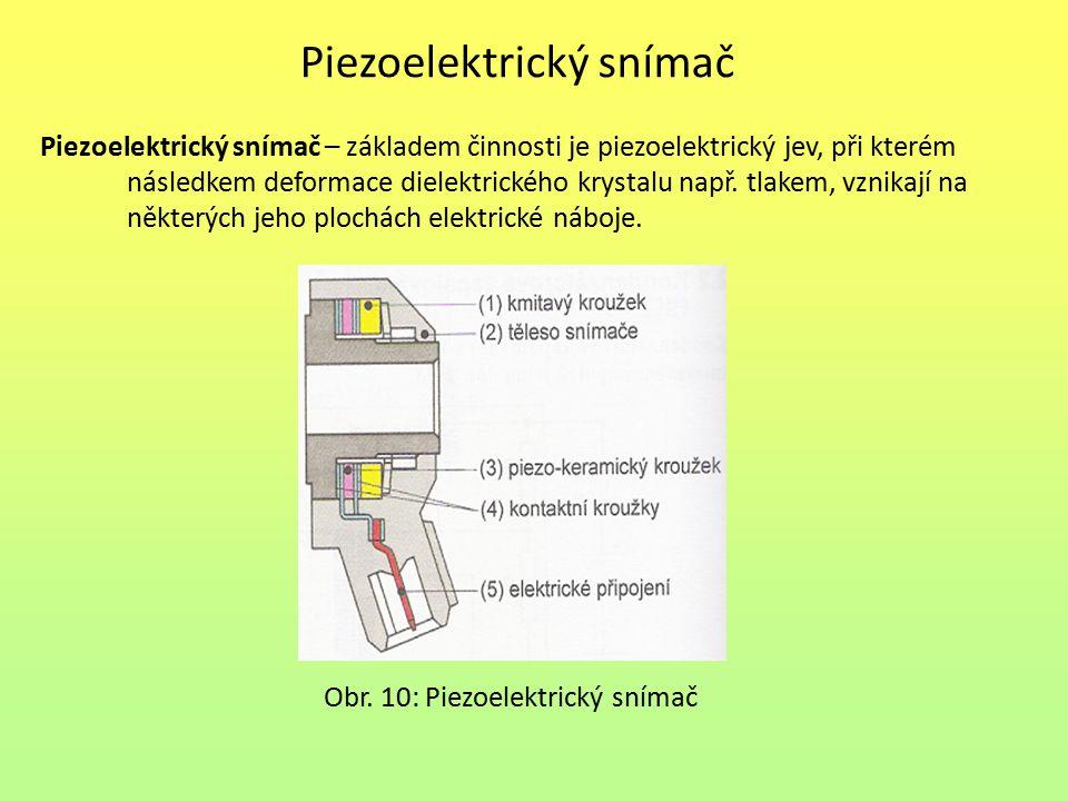 Piezoelektrický snímač Piezoelektrický snímač – základem činnosti je piezoelektrický jev, při kterém následkem deformace dielektrického krystalu např.