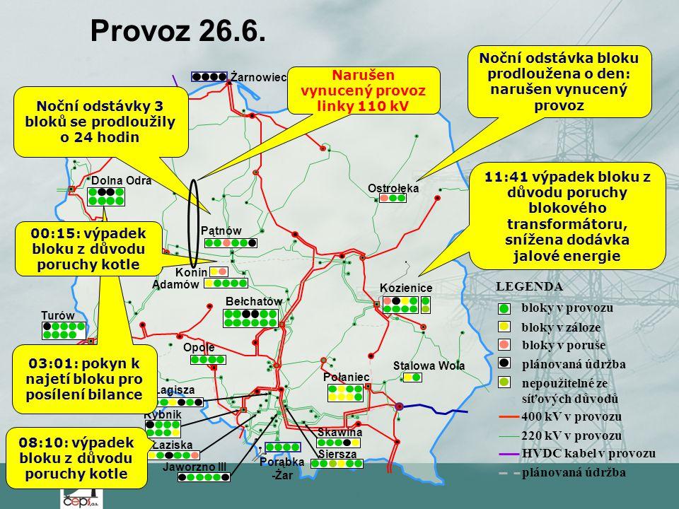 Łaziska Jaworzno III LEGENDA bloky v provozu bloky v záloze bloky v poruše plánovaná údržba 400 kV v provozu 220 kV v provozu HVDC kabel v provozu plá