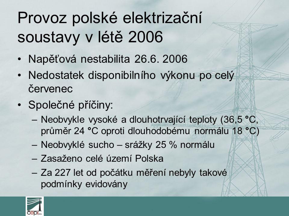 Provoz polské elektrizační soustavy v létě 2006 Napěťová nestabilita 26.6. 2006 Nedostatek disponibilního výkonu po celý červenec Společné příčiny: –N