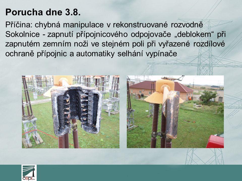 """Porucha dne 3.8. Příčina: chybná manipulace v rekonstruované rozvodně Sokolnice - zapnutí přípojnicového odpojovače """"deblokem"""" při zapnutém zemním nož"""