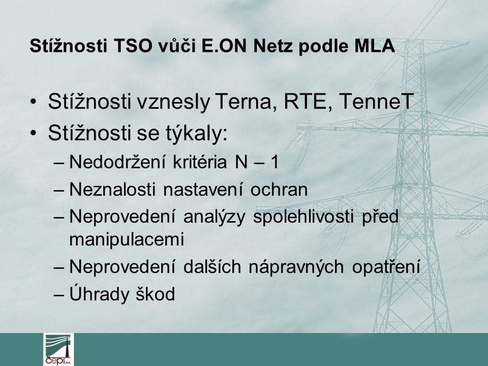 Stížnosti TSO vůči E.ON Netz podle MLA Stížnosti vznesly Terna, RTE, TenneT Stížnosti se týkaly: –Nedodržení kritéria N – 1 –Neznalosti nastavení ochr