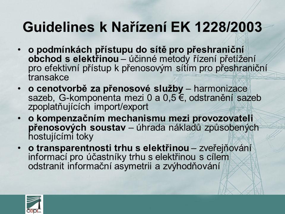 Guidelines k Nařízení EK 1228/2003 o podmínkách přístupu do sítě pro přeshraniční obchod s elektřinou – účinné metody řízení přetížení pro efektivní p