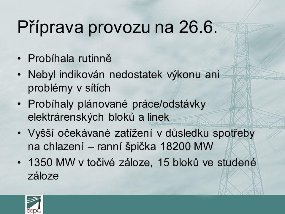 Příprava provozu na 26.6. Probíhala rutinně Nebyl indikován nedostatek výkonu ani problémy v sítích Probíhaly plánované práce/odstávky elektrárenských