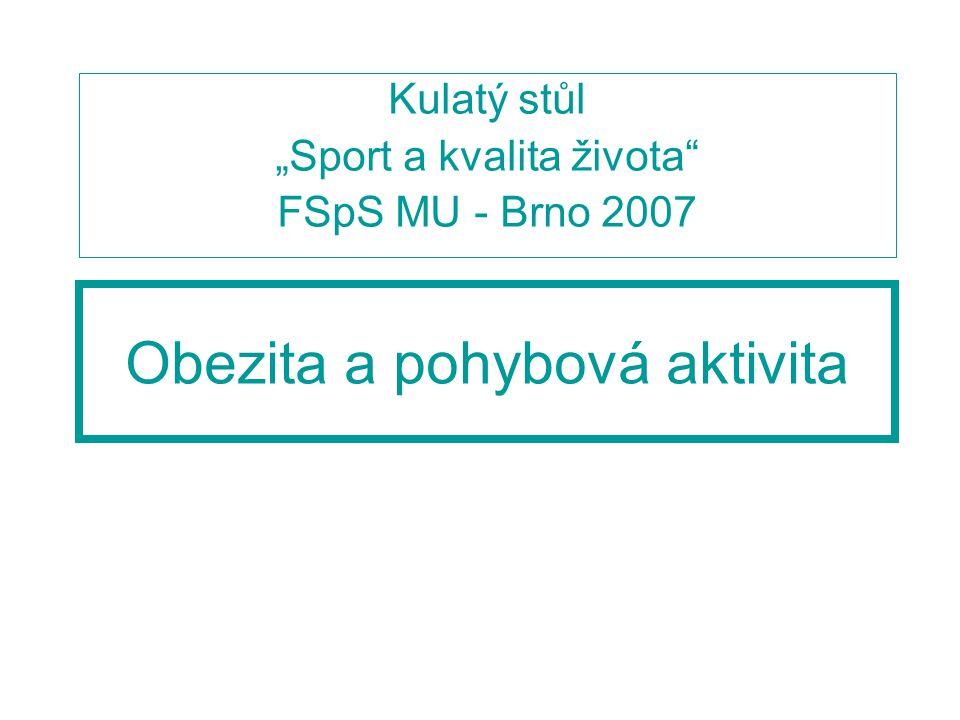 """Obezita a pohybová aktivita Kulatý stůl """"Sport a kvalita života FSpS MU - Brno 2007"""
