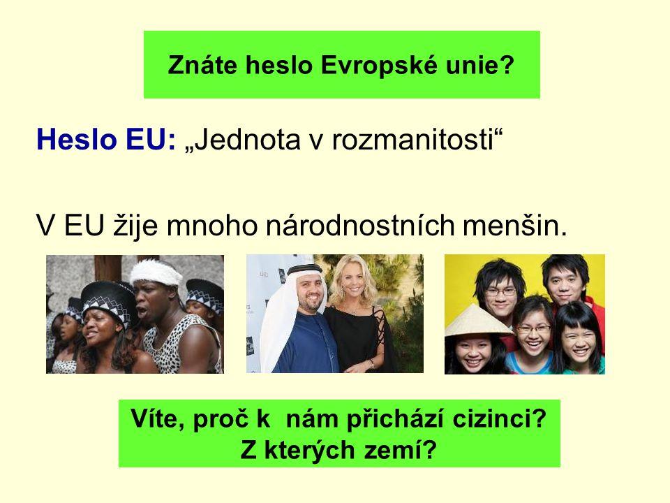 """Heslo EU: """"Jednota v rozmanitosti"""" V EU žije mnoho národnostních menšin. Znáte heslo Evropské unie? Víte, proč k nám přichází cizinci? Z kterých zemí?"""