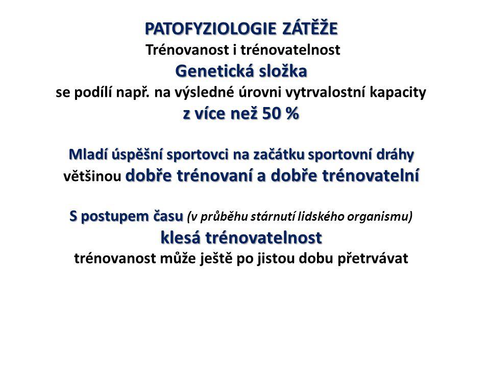 PATOFYZIOLOGIE ZÁTĚŽE o 25 – 30 % vyšší Muži v dospělosti většinou o 25 – 30 % vyšší VO 2 /kg max