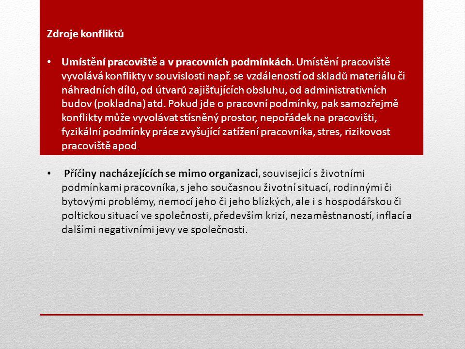 Zdroje konfliktů Umístění pracoviště a v pracovních podmínkách. Umístění pracoviště vyvolává konflikty v souvislosti např. se vzdáleností od skladů ma