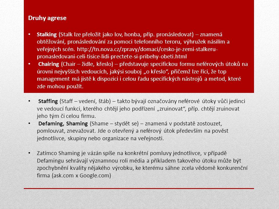 Druhy agrese Stalking (Stalk lze přeložit jako lov, honba, příp. pronásledovat) – znamená obtěžování, pronásledování za pomoci telefonního teroru, výh