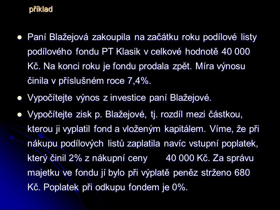 Paní Blažejová zakoupila na začátku roku podílové listy podílového fondu PT Klasik v celkové hodnotě 40 000 Kč.