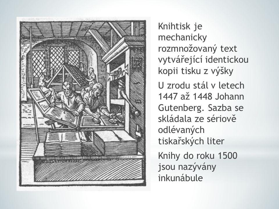 Knihtisk je mechanicky rozmnožovaný text vytvářející identickou kopii tisku z výšky U zrodu stál v letech 1447 až 1448 Johann Gutenberg. Sazba se sklá