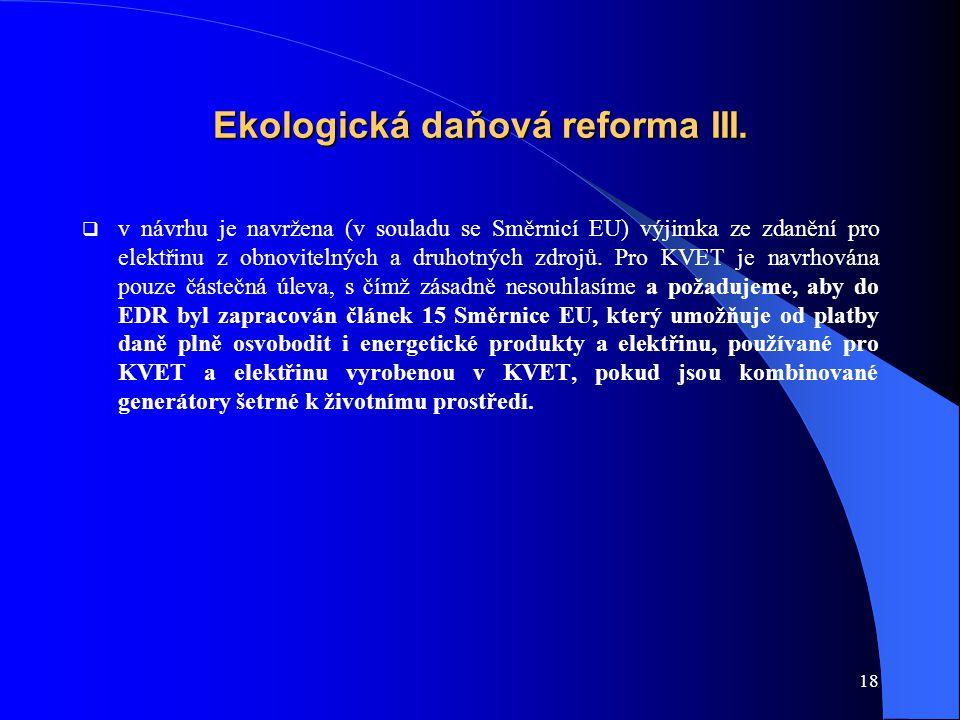 18 Ekologická daňová reforma III.