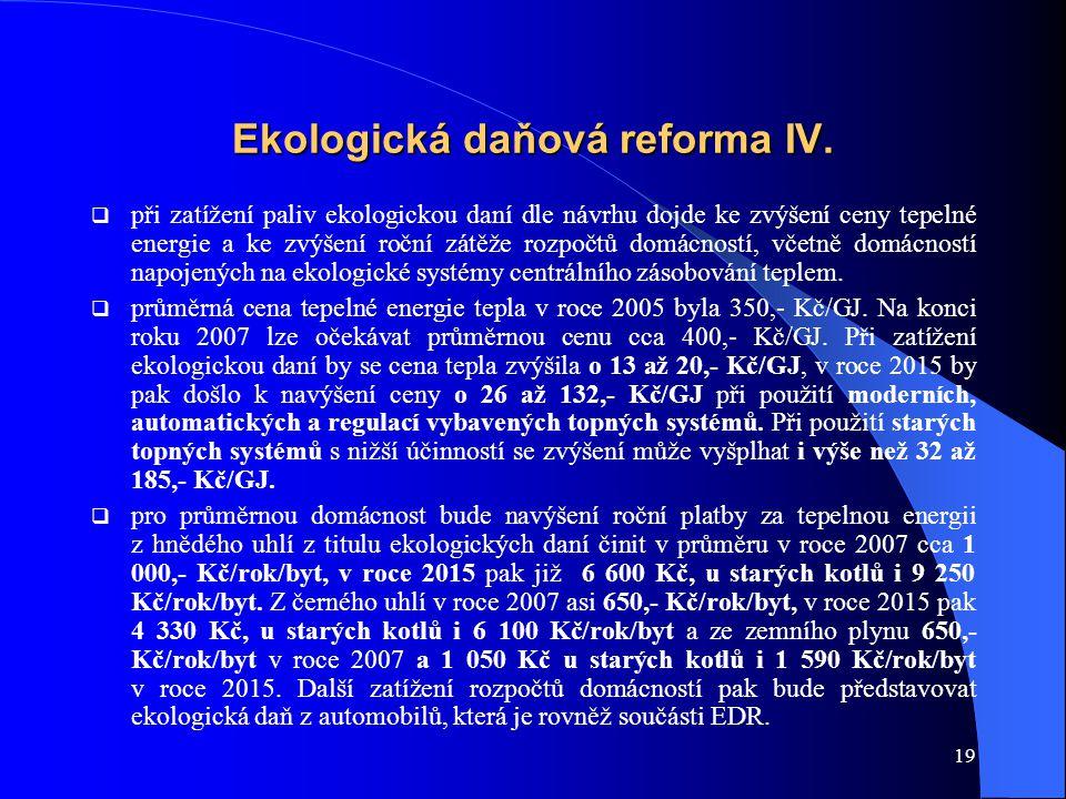 19 Ekologická daňová reforma IV.