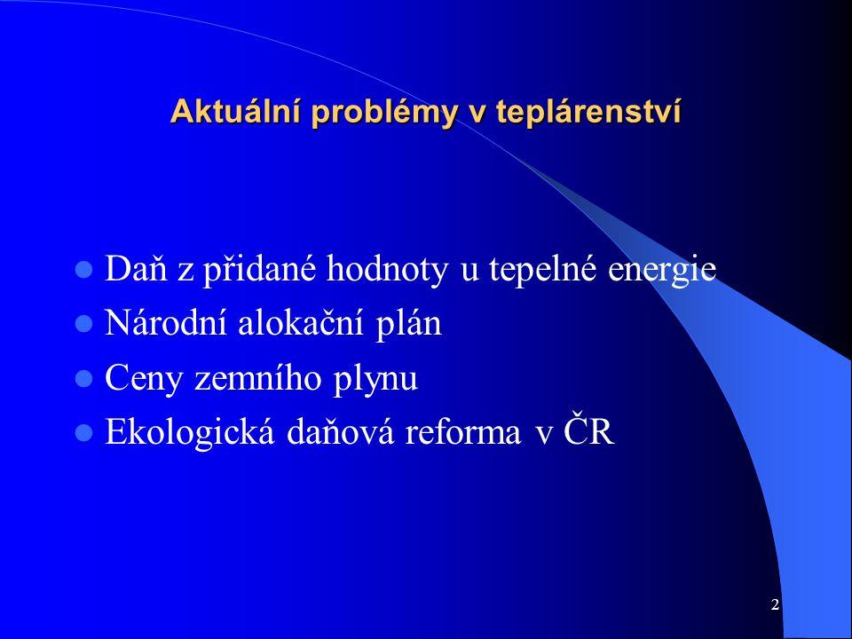 2 Aktuální problémy v teplárenství Daň z přidané hodnoty u tepelné energie Národní alokační plán Ceny zemního plynu Ekologická daňová reforma v ČR