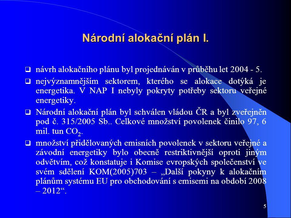 5 Národní alokační plán I.  návrh alokačního plánu byl projednáván v průběhu let 2004 - 5.