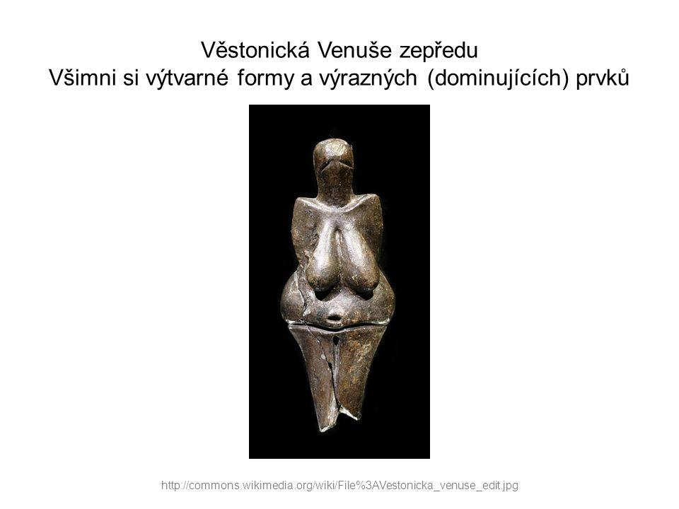 Věstonická Venuše zepředu Všimni si výtvarné formy a výrazných (dominujících) prvků http://commons.wikimedia.org/wiki/File%3AVestonicka_venuse_back.jpg