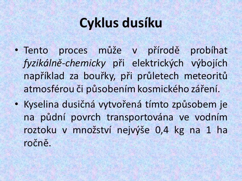 Cyklus dusíku Tento proces může v přírodě probíhat fyzikálně-chemicky při elektrických výbojích například za bouřky, při průletech meteoritů atmosférou či působením kosmického záření.