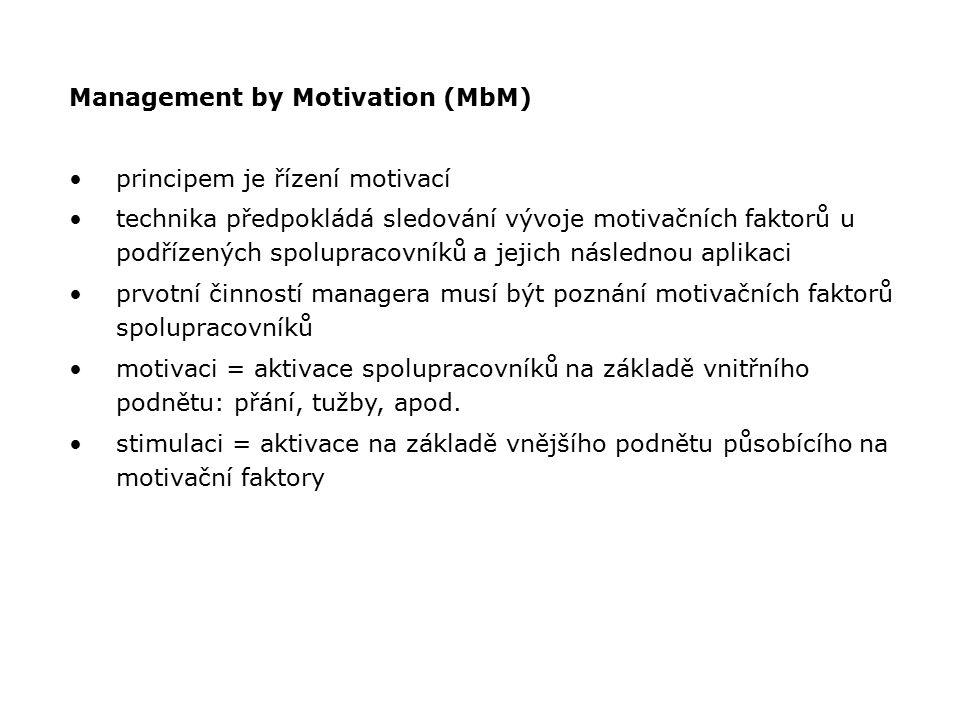 Management by Motivation (MbM) principem je řízení motivací technika předpokládá sledování vývoje motivačních faktorů u podřízených spolupracovníků a