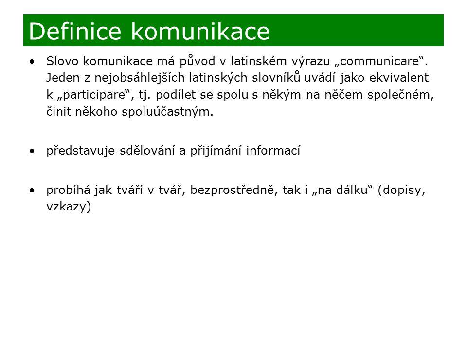 """Slovo komunikace má původ v latinském výrazu """"communicare ."""