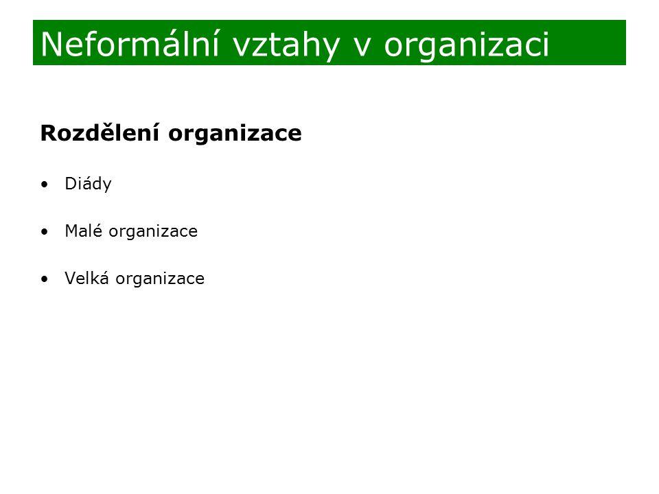 Rozdělení organizace Diády Malé organizace Velká organizace Neformální vztahy v organizaci