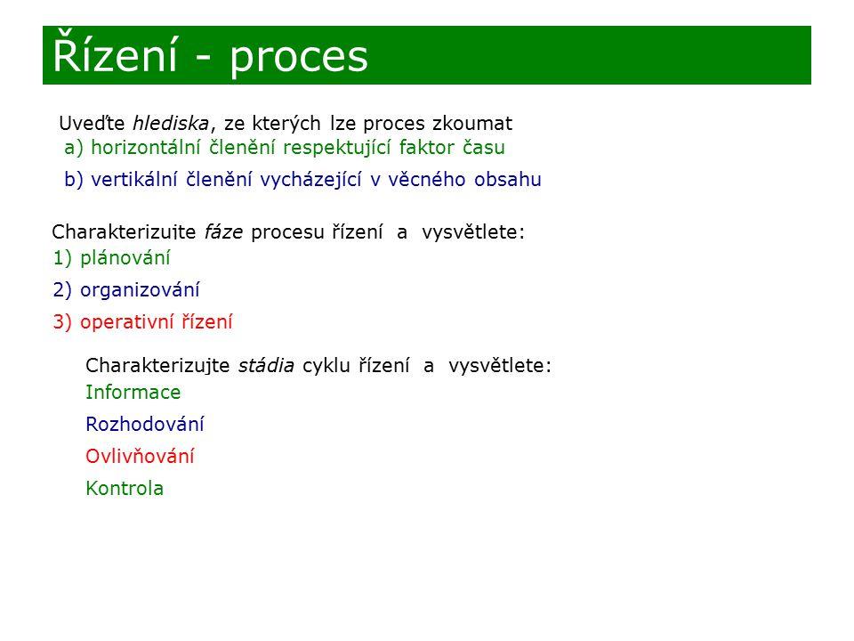 Uveďte hlediska, ze kterých lze proces zkoumat Charakterizujte fáze procesu řízení a vysvětlete: 1) 2) 3) Řízení - proces a) horizontální členění resp
