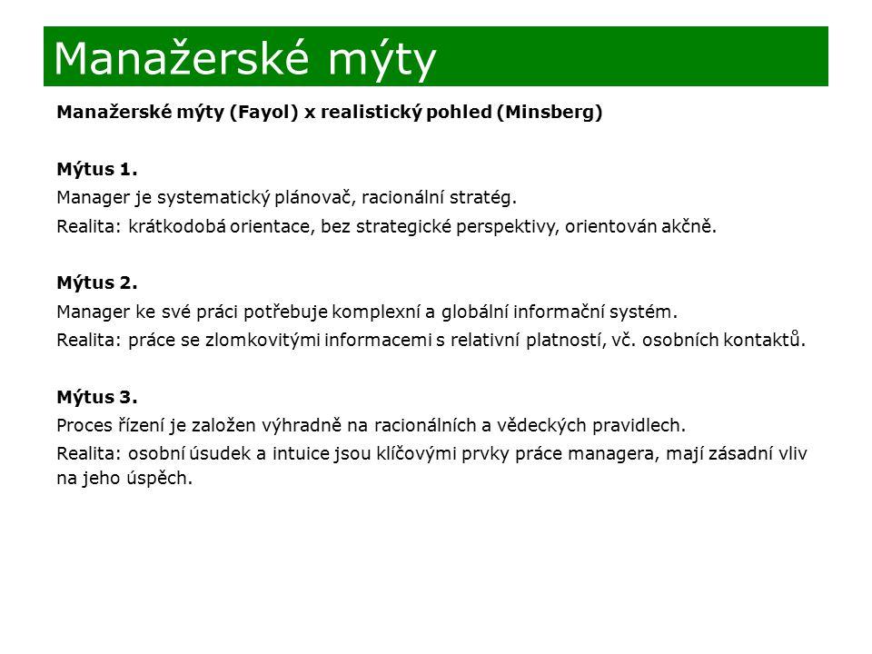 Manažerské mýty (Fayol) x realistický pohled (Minsberg) Mýtus 1.