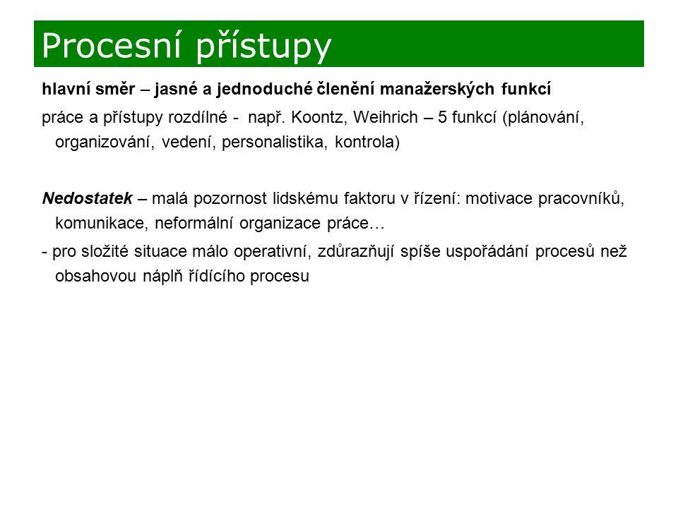 hlavní směr – jasné a jednoduché členění manažerských funkcí práce a přístupy rozdílné - např. Koontz, Weihrich – 5 funkcí (plánování, organizování, v