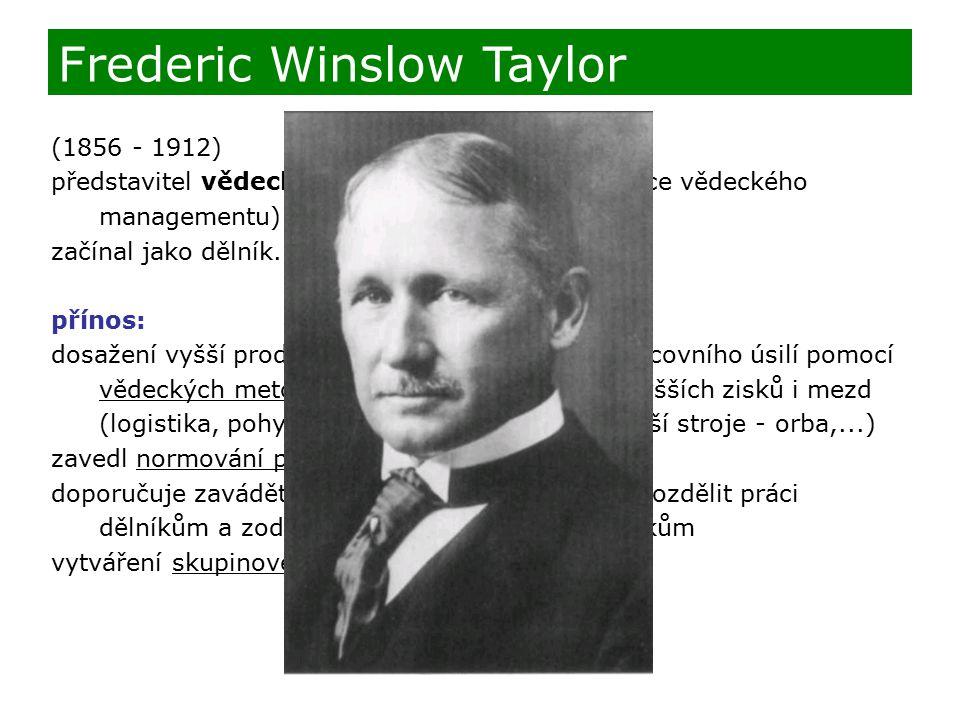 (1856 - 1912) představitel vědeckého řízení (považován za otce vědeckého managementu) začínal jako dělník... přínos: dosažení vyšší produktivity práce