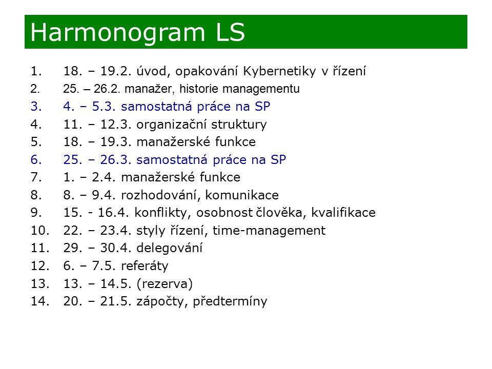 Harmonogram LS 1.18. – 19.2. úvod, opakování Kybernetiky v řízení 2.25. – 26.2. manažer, historie managementu 3.4. – 5.3. samostatná práce na SP 4.11.