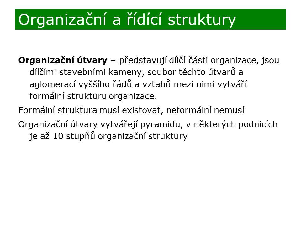 Organizační útvary – představují dílčí části organizace, jsou dílčími stavebními kameny, soubor těchto útvarů a aglomerací vyššího řádů a vztahů mezi nimi vytváří formální strukturu organizace.