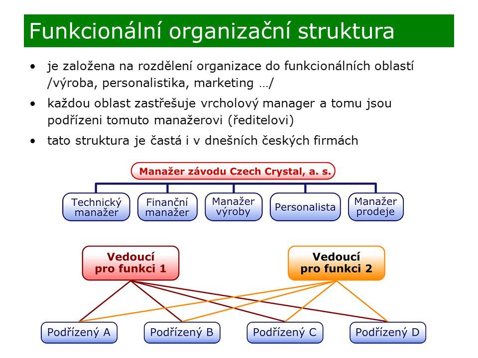 je založena na rozdělení organizace do funkcionálních oblastí /výroba, personalistika, marketing …/ každou oblast zastřešuje vrcholový manager a tomu jsou podřízeni tomuto manažerovi (ředitelovi) tato struktura je častá i v dnešních českých firmách Funkcionální organizační struktura