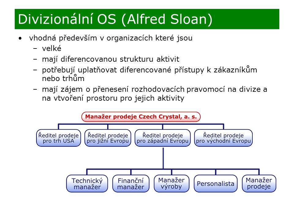 vhodná především v organizacích které jsou –velké –mají diferencovanou strukturu aktivit –potřebují uplatňovat diferencované přístupy k zákazníkům nebo trhům –mají zájem o přenesení rozhodovacích pravomocí na divize a na vtvoření prostoru pro jejich aktivity Divizionální OS (Alfred Sloan)
