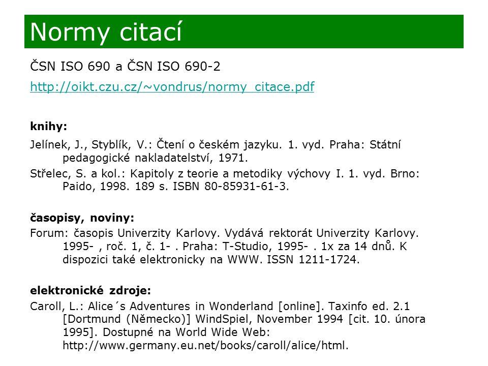Normy citací ČSN ISO 690 a ČSN ISO 690-2 http://oikt.czu.cz/~vondrus/normy_citace.pdf knihy: Jelínek, J., Styblík, V.: Čtení o českém jazyku. 1. vyd.