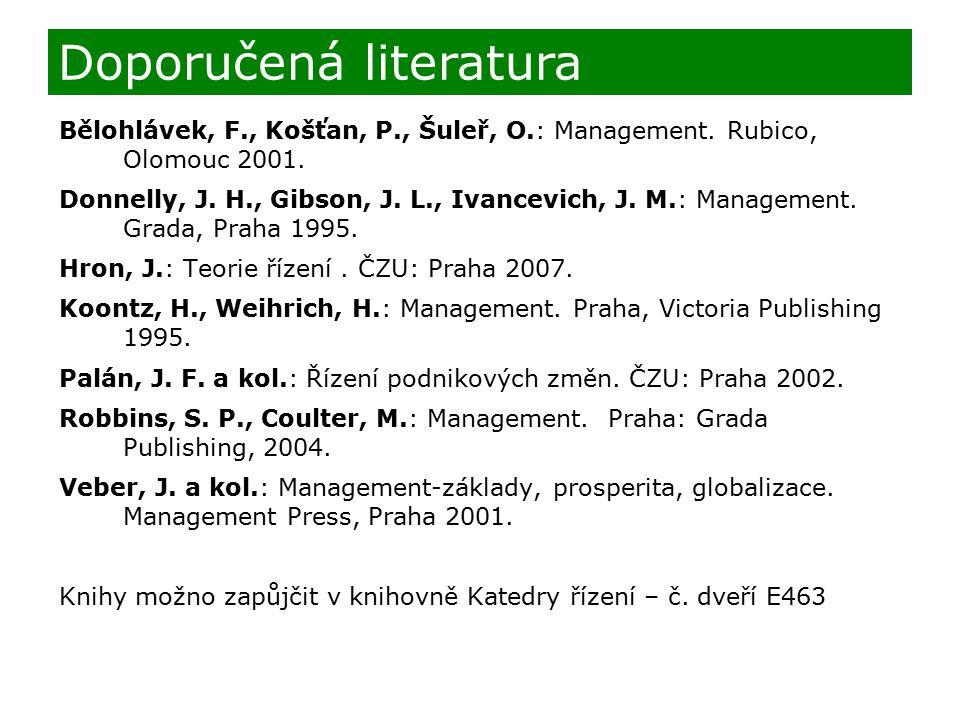 Doporučená literatura Bělohlávek, F., Košťan, P., Šuleř, O.: Management. Rubico, Olomouc 2001. Donnelly, J. H., Gibson, J. L., Ivancevich, J. M.: Mana