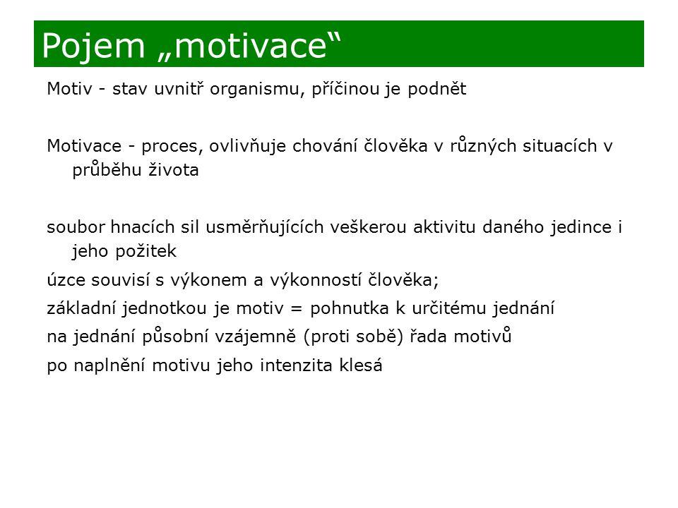 """Motiv - stav uvnitř organismu, příčinou je podnět Motivace - proces, ovlivňuje chování člověka v různých situacích v průběhu života soubor hnacích sil usměrňujících veškerou aktivitu daného jedince i jeho požitek úzce souvisí s výkonem a výkonností člověka; základní jednotkou je motiv = pohnutka k určitému jednání na jednání působní vzájemně (proti sobě) řada motivů po naplnění motivu jeho intenzita klesá Pojem """"motivace"""