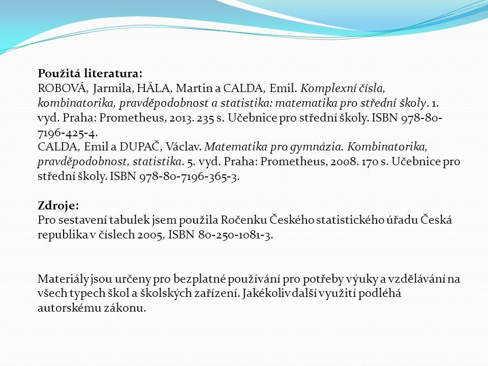Použitá literatura: ROBOVÁ, Jarmila, HÁLA, Martin a CALDA, Emil. Komplexní čísla, kombinatorika, pravděpodobnost a statistika: matematika pro střední