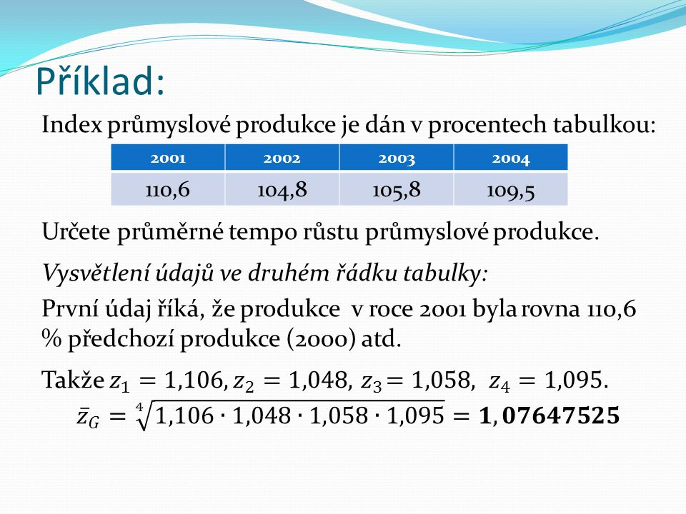 Příklad: 2001200220032004 110,6104,8105,8109,5