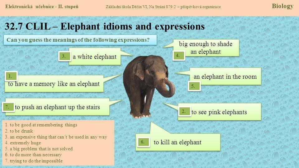 32.7 CLIL – Elephant idioms and expressions Elektronická učebnice - II. stupeň Základní škola Děčín VI, Na Stráni 879/2 – příspěvková organizace Biolo